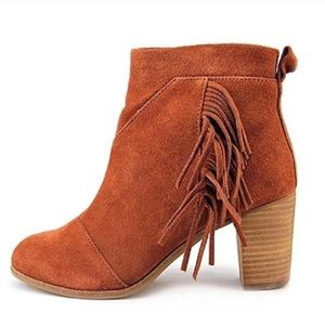 NWT TOMS Cognac Suede Ankle Booties Size 8